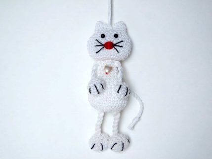 Häkelanleitung Schlüsselanhänger Katze (weiß)