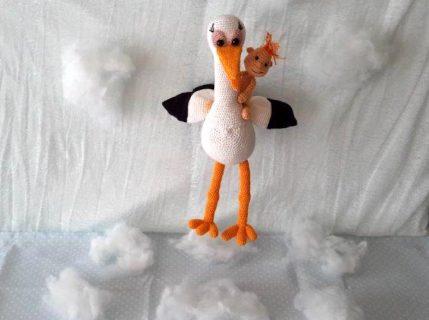 Storch mit Baby - Häkelanleitung