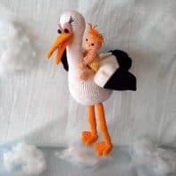 Amigurumi Anleitung: Storch und Baby häkeln