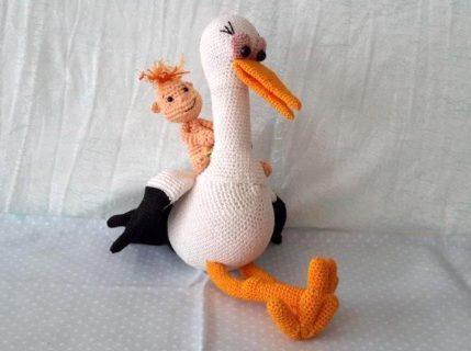 Storch mit Baby - Amigurumi Anleitung