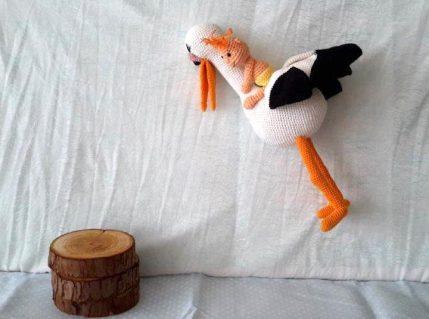 Häkelanleitung Storch mit Baby