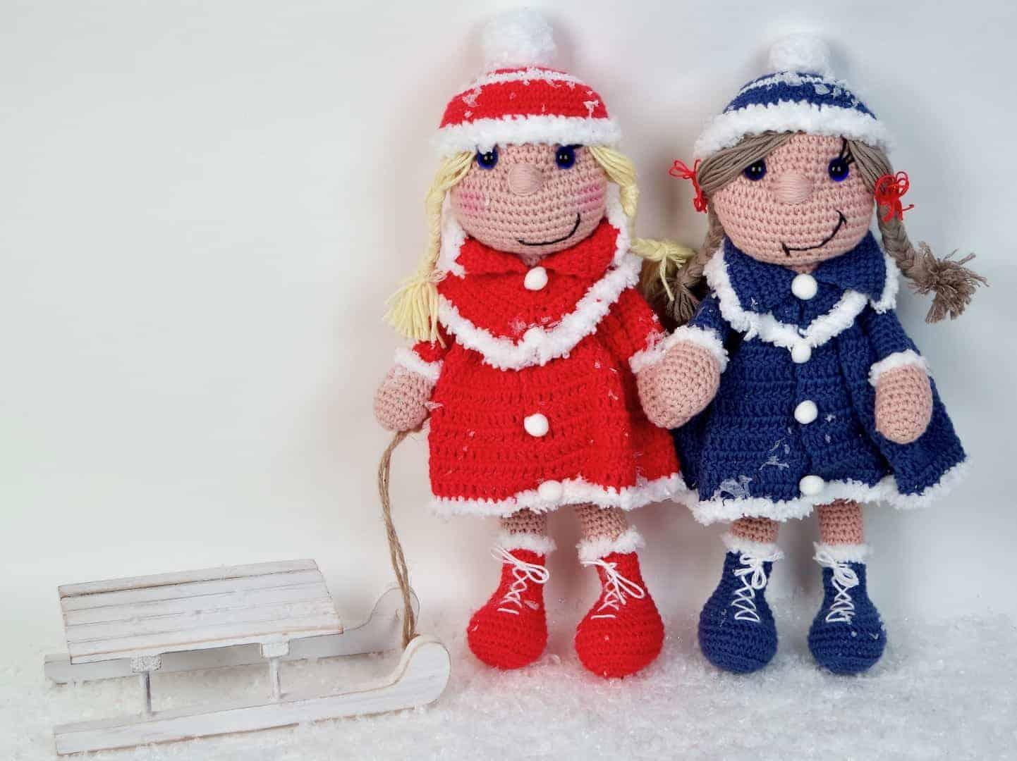 Häkelanleitung Puppe Bine Das Wintermädchen Mit Hund Und Katze