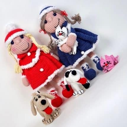 Häkelanleitung Puppe Bine das Wintermädchen mit Hund und Katz