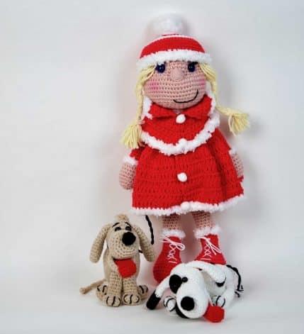 Puppe Bine mit Hunden als Geschenk. Häkelanleitung