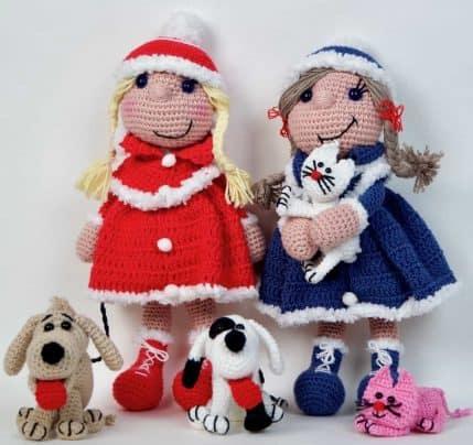 Häkelanleitung Puppe Bine das Wintermädchen mit Hunden und Katzen