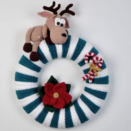 Häkelanleitung Weihnachtlicher Türkranz