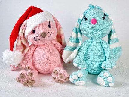 Häkeln Amigurumi: Hase als Weihnachtsmann