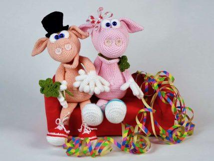 Häkelanleitung Schwein zu Neujahr Gisbert und Gisela