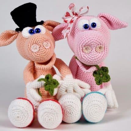 Häkelanleitung Schwein Gisbert und Gisela