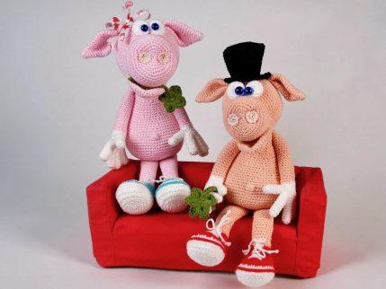 Häkelanleitung Schwein: Gilbert und Gisela