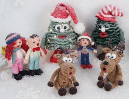 Häkeln: Elche, Weihnachtssänger und Weihnachtsbäume im Schnee, Anleitung