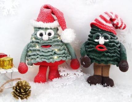 Weihnachtsbäume im Schnee, Häkelanleitung