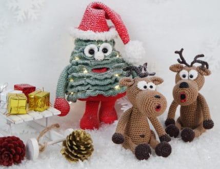 Weihnachtsbaum und die Elche häkeln, Anleitung