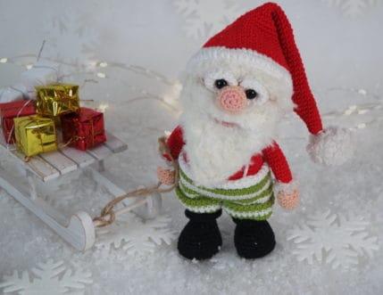 Weihnachtsmann Werner auf dem Weg zur Arbeit, Häkelanleitung