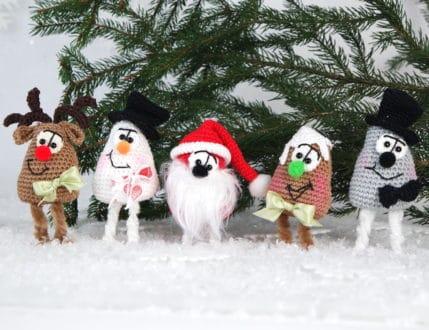 Häkeln: Weihnachtsmitbringsel Elch, Schneemann und mehr