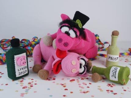 Auch Schweine feiern Silvester, Häkelanleitung
