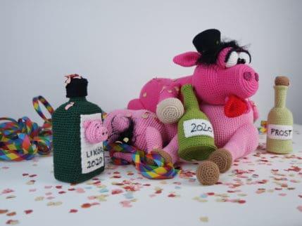 Lustiges Häkeln: Silvesterparty der Schweine. Anleitung.