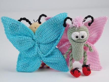 Schmetterlinge, Vorder und Rückseite. Häkelanleitung